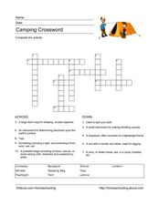 Camping Crossword Worksheet