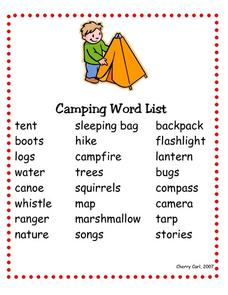 Camping Word List Worksheet
