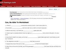 Can, Be Able To Worksheet Worksheet