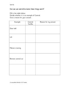 Can We Use Control to Make These Things Work? Worksheet