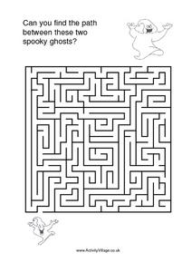 Can you Find the Path between these Two Spooky Ghosts? Worksheet