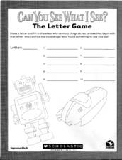 Can You See What I See? The Letter Game Worksheet