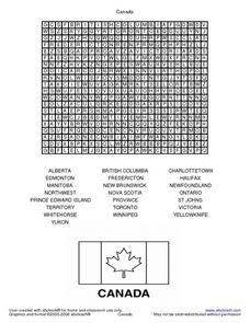Canada Word Search Worksheet