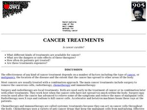 Cancer Treatments Lesson Plan
