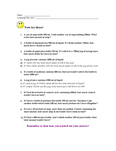 Capacity Word Problems Worksheet