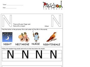Capital Letters: N Worksheet