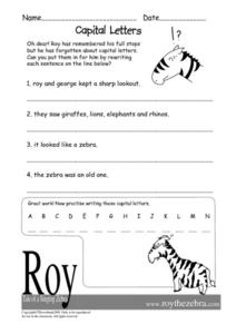 Capital Letters- Sentence Correction Worksheet Worksheet