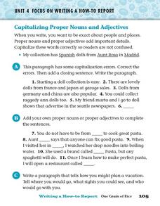 Capitalizing Proper Nouns and Adjectives Worksheet