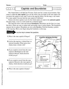 Capitals and Boundaries Worksheet