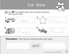 Car Race Worksheet