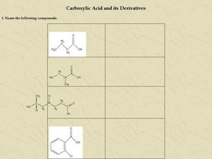 Carboxylic Acid and its Derivatives Worksheet