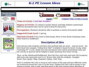 Card Suit Aerobics Lesson Plan
