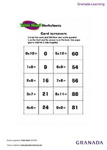 Card Turnovers Worksheet