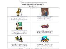 Career/Jobs: Picture/Word Worksheet #7 Worksheet