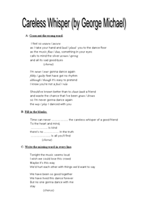 Careless Whisper by George Michael Worksheet
