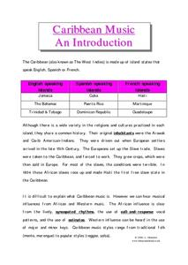 Caribbean Music-- An Introduction Worksheet