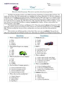 Cars Worksheet