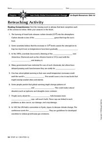 Case Study Global Environmental Change Worksheet