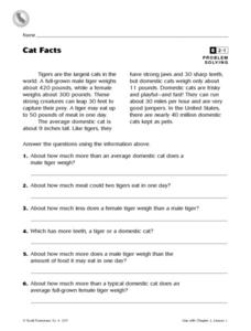Cat Facts Worksheet
