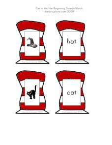Cat in the Hat Beginning Sounds Match Worksheet