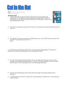 Cat in the Hat Math Problems Worksheet