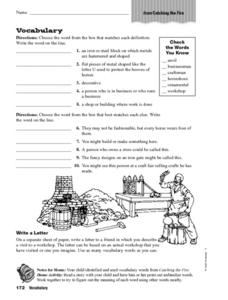 Catching the Fire Vocabulary Worksheet