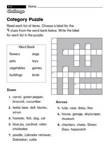 Category Puzzle Worksheet