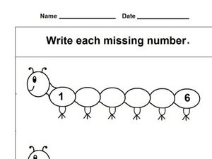Caterpillar Numbers Worksheet