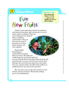 Cause and Effect: Fun New Fruits Worksheet