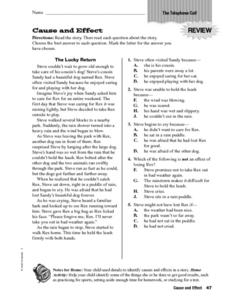 Cause and Effect: The Telephone Call Worksheet