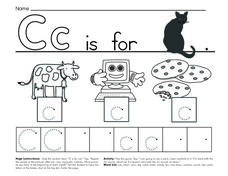 Cc is for Cat, Cow, Computer and Cookies Worksheet