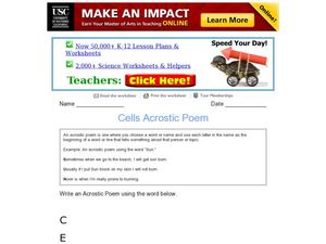 Cells Acrostic Poem Worksheet