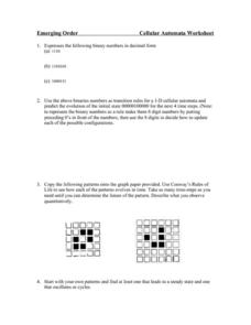 Cellular Automata Worksheet