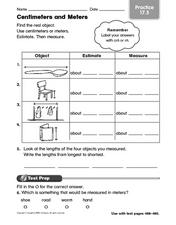 Centimeters and Meters: Practice 17.5 Worksheet