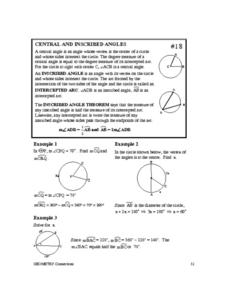 Central and Inscribed Angles Worksheet