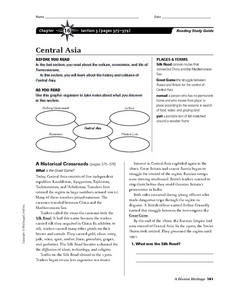 Central Asia Worksheet