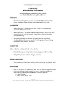Central City: Mining and the Environment Lesson Plan