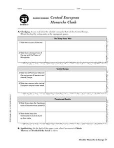 Central European Monarchs Clash Worksheet