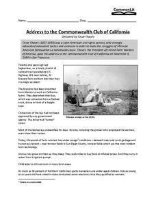 cesar chavez address to the common wealth club of california 7th 8th grade worksheet lesson. Black Bedroom Furniture Sets. Home Design Ideas