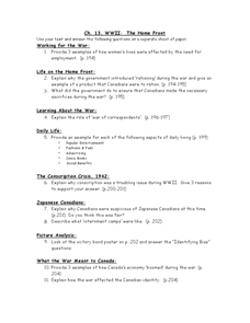 Ch. 13, WWII:  The Home Front Worksheet