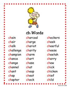 CH words Worksheet