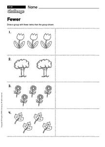 Challenge: Fewer Worksheet