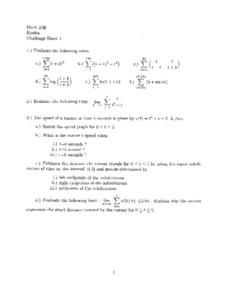 Challenge Sheet 1:  Limits and Sums Worksheet
