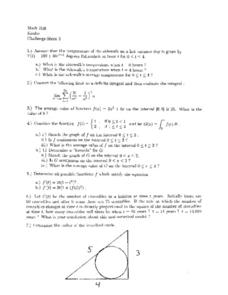 Challenge Sheet 3:  Average Value of a Function Worksheet