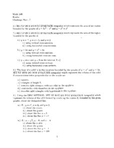 Challenge Sheet 7:  Area and Cross-Sections Worksheet