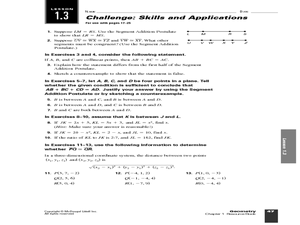 math worksheet : challenge skills and applications lesson 1 3 10th  12th grade  : Segment Addition Worksheet
