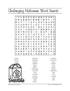 Challenging Halloween Word Search Worksheet