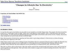 Changes In Lifestyle Due To Electricity Lesson Plan