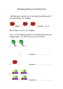 Changing Adding To Multiplication Worksheet