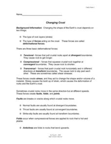 Changing Crust Worksheet